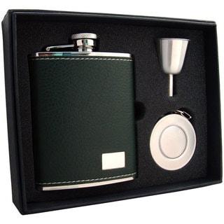 Visol Nature Dark Green Leather Stellar Flask Gift Set - 6 ounces