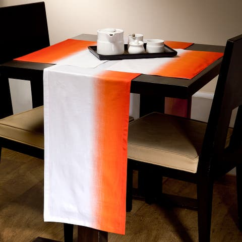Gradient White/ Orange Runner and Placemat Set