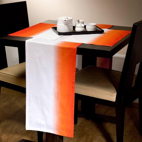 Pleasing Gradient White Orange Runner And Placemat Set Lamtechconsult Wood Chair Design Ideas Lamtechconsultcom