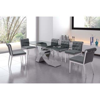 Wave Dining Table With Tempered Gl Chrome Base Finish