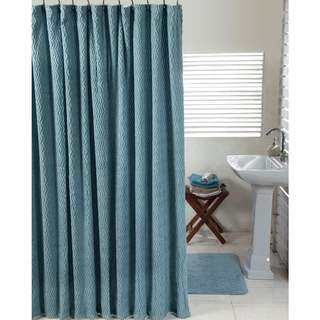 Waves Shower Curtain and Solid Cut Pile Bath Mat Set By Better Trends