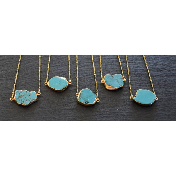 Mint Jules Raw Turquoise Horizontal Stone Pendant Necklace