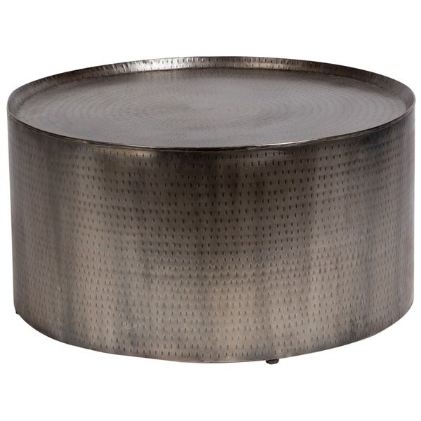 Handmade Porter Rotonde Hammered Metal Industrial Round Coffee Table  (India)   Free Shipping Today   Overstock.com   17869385