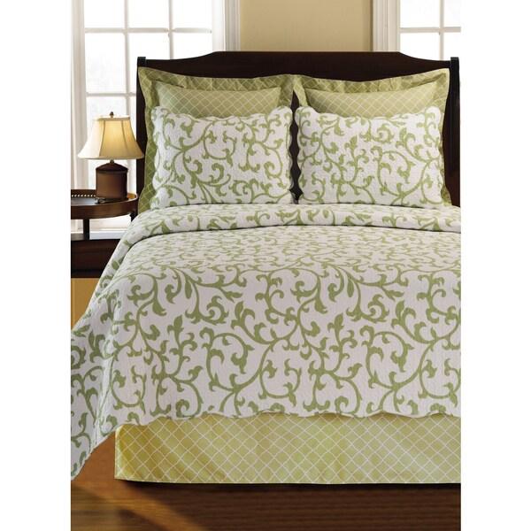 Ella Green Scroll Cotton Quilt or Sham