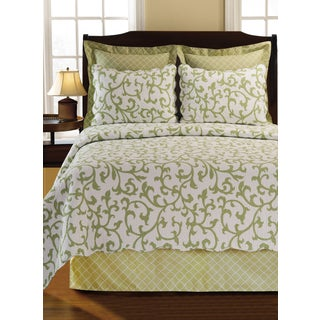 Ella Green Scroll Cotton Quilt