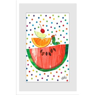 Marmont Hill - Watermelon and Caterpillar by Eric Carle Painting on Framed Print