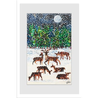 Marmont Hill - Deer in the Snow by Eric Carle Painting on Framed Print