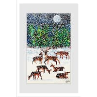Marmont Hill - Deer in the Snow by Eric Carle Painting on Framed Print - Multi-color