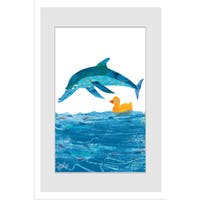 Marmont Hill - Little Rubber Duck and Dolphin by Eric Carle Painting on Framed Print