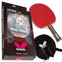 Butterfly 302 Shakehand Table Tennis Racket Set with Ping Pong Paddle Case - ITTF Approved