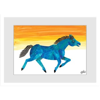 Marmont Hill - Galloping Blue Horse by Eric Carle Painting on Framed Print