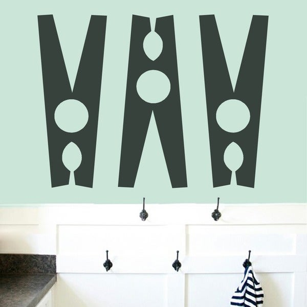 Clothespins Set Laundry Room Wall Decals Large
