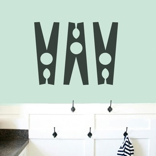 Clothespins Set Laundry Room Medium Wall Decals