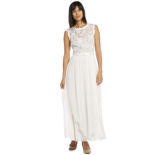 R & M Richards Women's Lace Panel Gown
