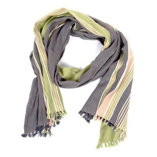 Handmade The Coed Green and Tan Cotton Scarf (India)