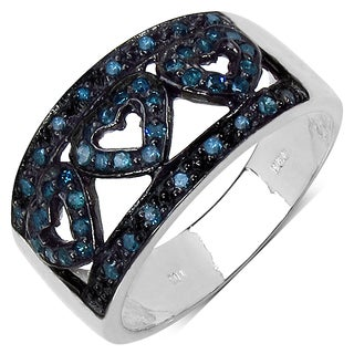 Malaika .925 Sterling Silver 0.32 Carat Genuine Blue Diamond Ring