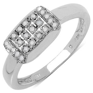 Malaika .925 Sterling Silver 0.12 Carat Genuine White Diamond 14K White Gold Plated Ring (I-J) (I2-I3)