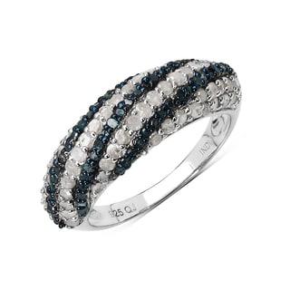 Olivia Leone .925 Sterling Silver 1.25 Carat Genuine Blue & White Diamond Ring ( I-J) ( I2-I3)