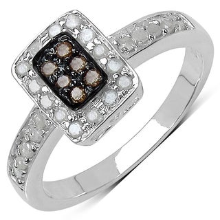 Malaika .925 Sterling Silver 0.36 Carat Genuine Champagne & White Diamond Ring ( I2-I3)