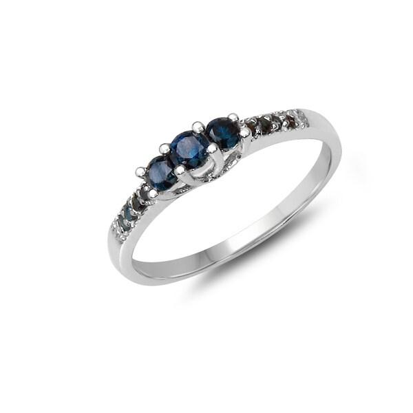 Malaika .925 Sterling Silver 0.26 Carat Genuine Blue Diamond Ring