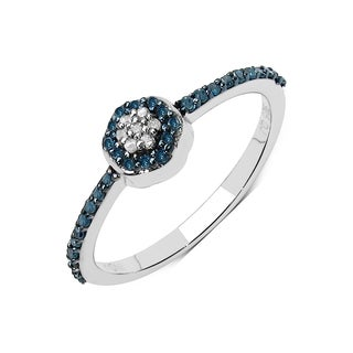 Olivia Leone .925 Sterling Silver 0.20 Carat Genuine Blue & White Diamond Ring ( I2-I3)