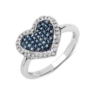 Olivia Leone .925 Sterling Silver 0.39 Carat Genuine Blue & White Diamond Ring ( I2-I3)