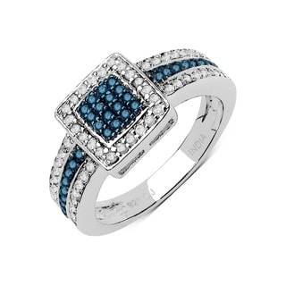 Olivia Leone .925 Sterling Silver 0.48 Carat Genuine Blue & White Diamond Ring ( I2-I3)
