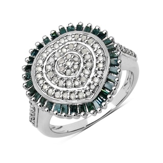 Olivia Leone .925 Sterling Silver 0.75 Carat Genuine White & Green Diamond Ring ( I-J) ( I2-I3)