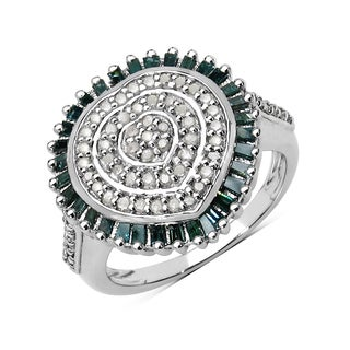 Olivia Leone .925 Sterling Silver 0.75 Carat Genuine White & Green Diamond Ring ( I2-I3)