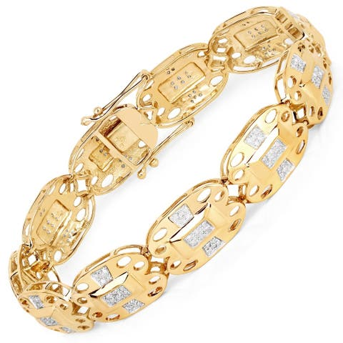 Malaika .925 Sterling Silver 0.96 Carat Genuine White Diamond 14K Yellow Gold Plated Bracelet