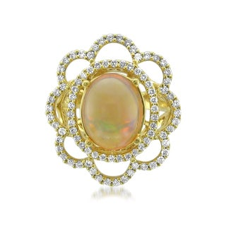 Montebello 18k Gold Opal and Diamond 5 1/2ct TGW Cabochon-cut Certified One-of-a-Kind Ring (H-I, VS2-SI1)