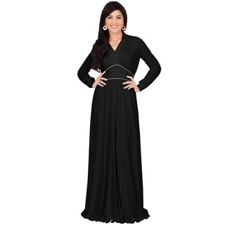 KOH KOH Women's Gold Piping Long Sleeve Collar Cocktail Elegant Maxi Dress