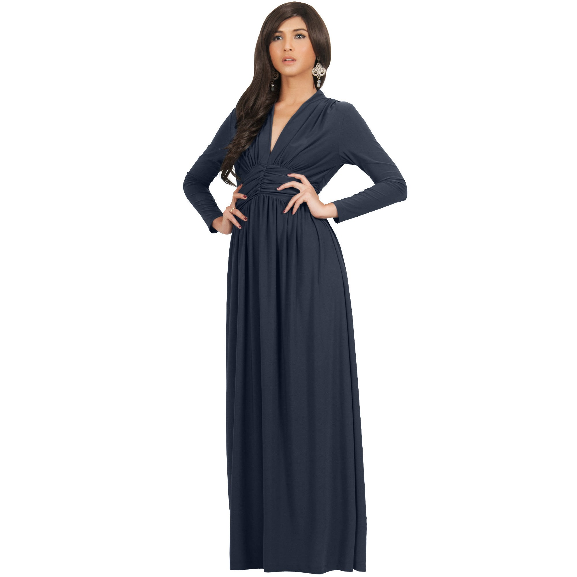 98c9832b98ab Shop KOH KOH Women's Vintage Inspired V-neck Long Sleeve Maxi Dress - Free  Shipping Today - Overstock - 10835718