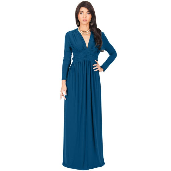 65cbce7b4692 Shop KOH KOH Women's Vintage Inspired V-neck Long Sleeve Maxi Dress ...