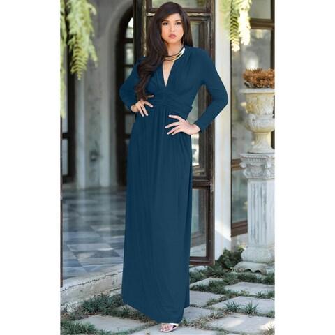 KOH KOH Women's Vintage Inspired V-neck Long Sleeve Maxi Dress
