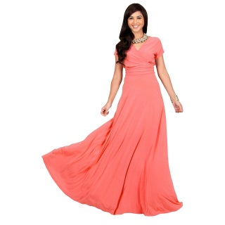 KOH KOH Womens Elegant Sleeve Chest Crossover Cocktail Long Maxi Dress (More options available)