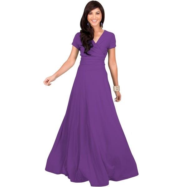 KOH KOH Womens Elegant Sleeve Chest Crossover Cocktail Long Maxi Dress