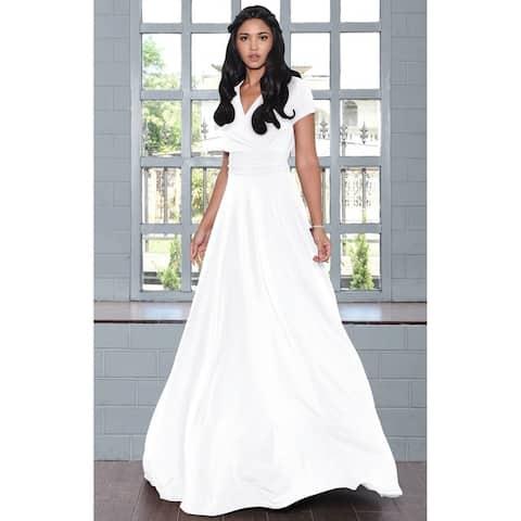 4ba98e9bbc KOH KOH Women s Long Semi-Formal Short Cap Sleeve Maxi Dress Gown