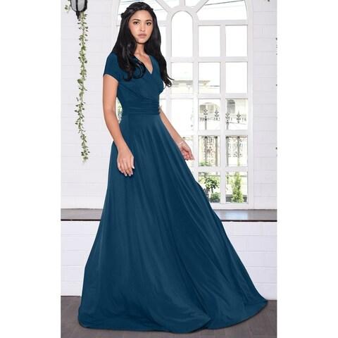 KOH KOH Women's Long Semi-Formal Short Cap Sleeve Maxi Dress Gown
