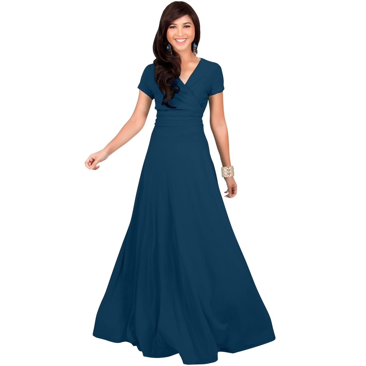 amazing selection hot-selling clearance top-rated genuine KOH KOH Women's Long Semi-Formal Short Cap Sleeve Maxi Dress Gown