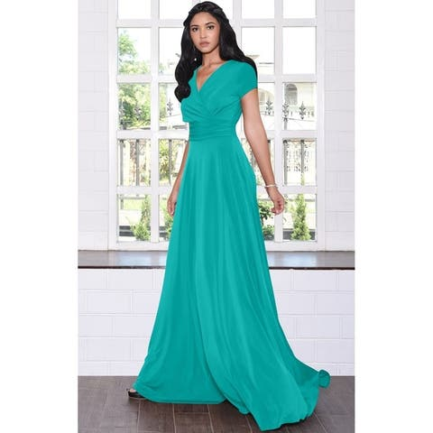 KOH KOH Women's Long Semi-Formal Short Cap Sleeve Maxi Dress Gown