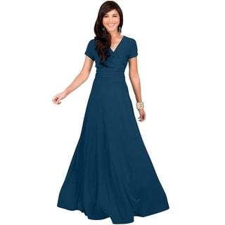 KOH KOH Women's Elegant Cap Sleeve Chest Crossover Cocktail Long Maxi Dress