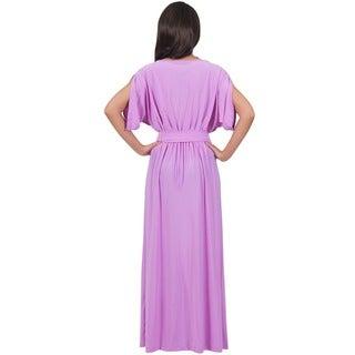 Koh Koh Women's Batwing Dolman Sleeve Elegant Cocktail Gown Maxi Dress