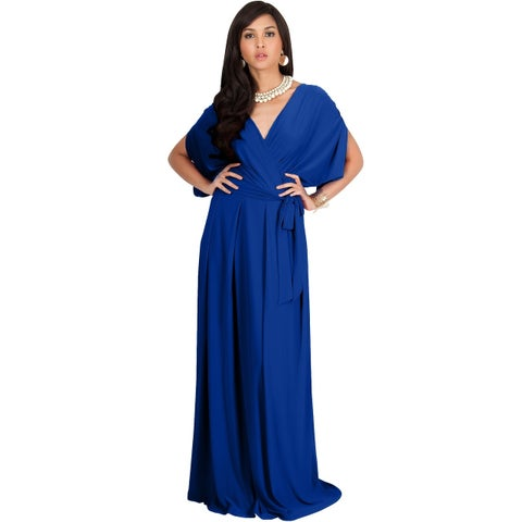 Koh Koh Women's Batwing Dolman Sleeve Elegant Cocktail Gown Maxi Dress