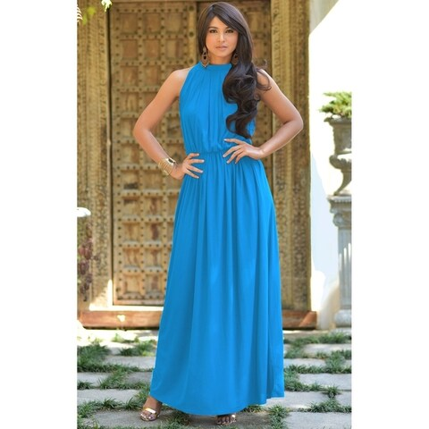 KOH KOH Womens Slimming Key Hole Sleeveless Cocktail Maxi Dress