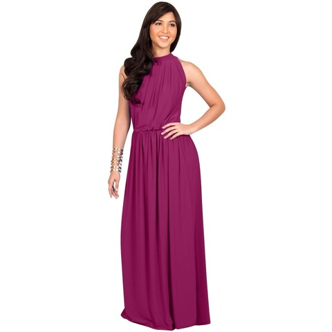 KOH KOH Womens Slimming Key Hole Sleeveless Cocktail Maxi Dress
