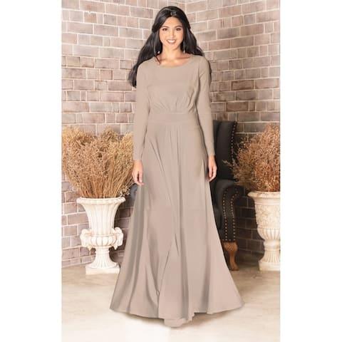 67fc1d360 KOH KOH Long Sleeve Elegant Evening Flowy Modest Fall Maxi Dress Gown