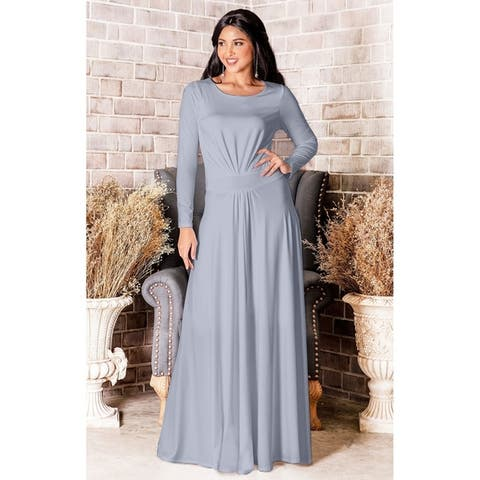 3a44b72c308a KOH KOH Long Sleeve Elegant Evening Flowy Modest Fall Maxi Dress Gown