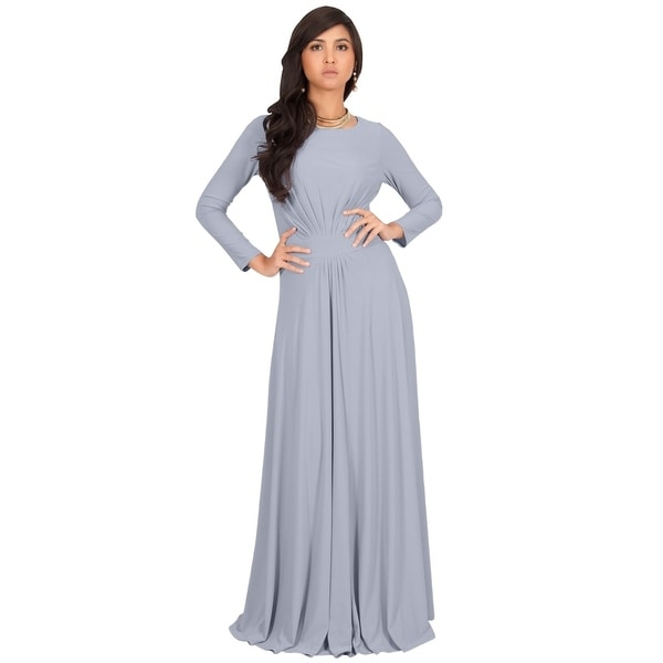 24ed3581cde1 KOH KOH Long Sleeve Elegant Evening Flowy Modest Fall Maxi Dress Gown