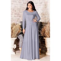 KOH KOH Long Sleeve Elegant Evening Flowy Modest Fall Maxi Dress Gown